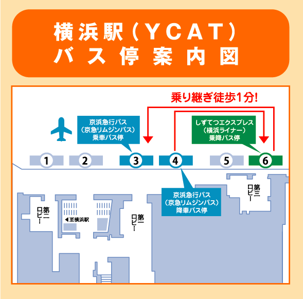 横浜駅(YCAT)バス停案内図