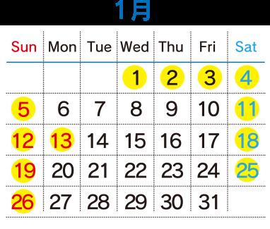 運行カレンダー01月