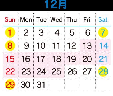 運行カレンダー12月